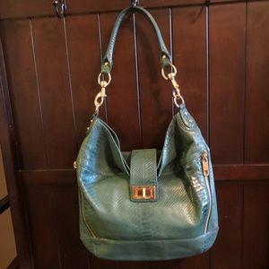 NEW Rebecca Minkoff croc green leather hobo bag